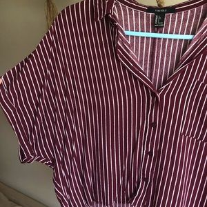 Tops - Striped Cropped Button Down